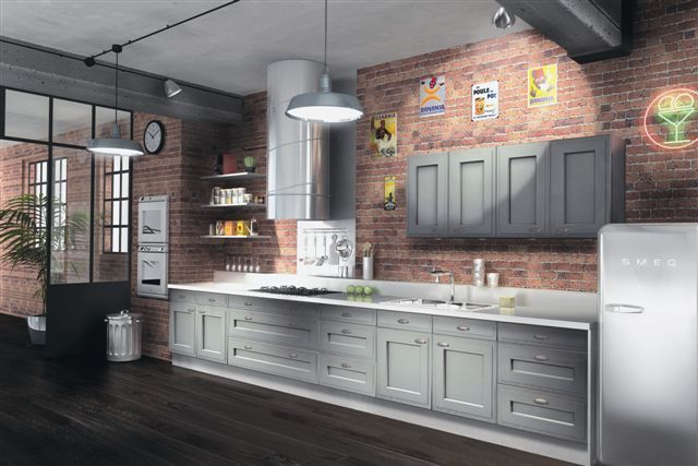 Gray Cabinets Paired With Brick Wall Kitchen Kitchens We