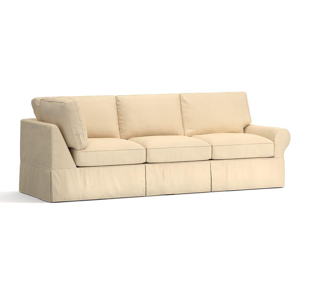 pb basic right return sofa slipcover textured basketweave camel at rh pinterest com