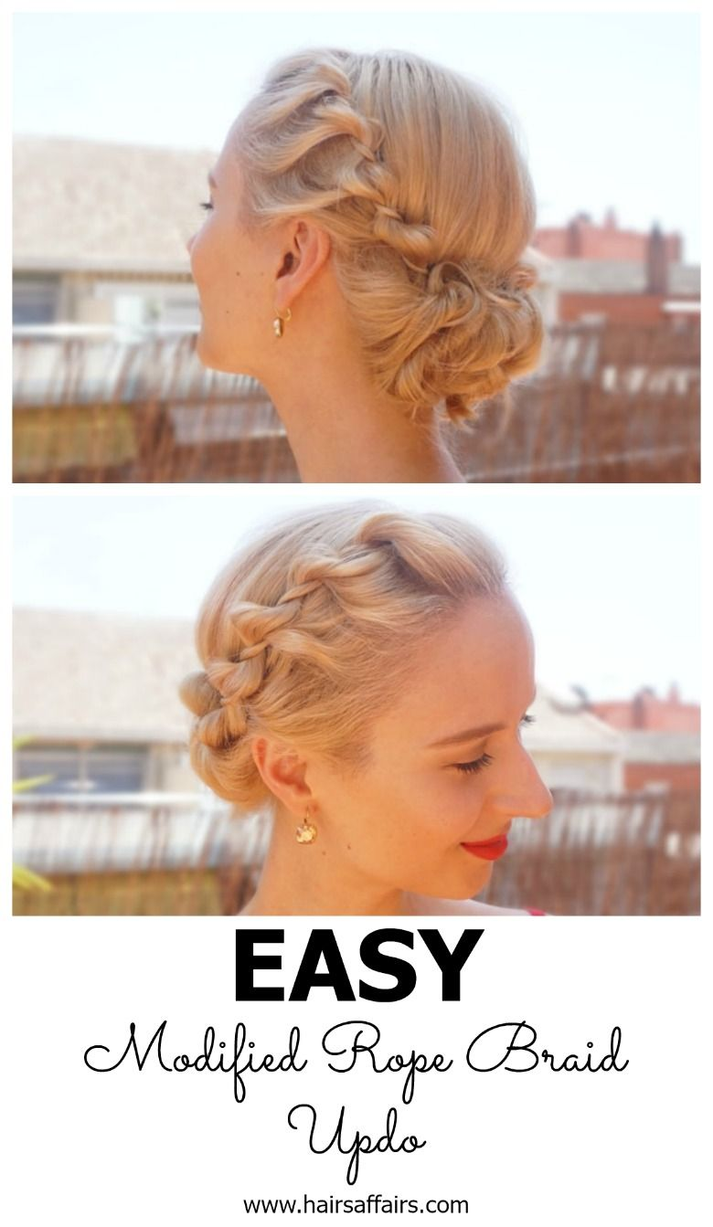 Easy summer hairstyle u modified rope braid updo