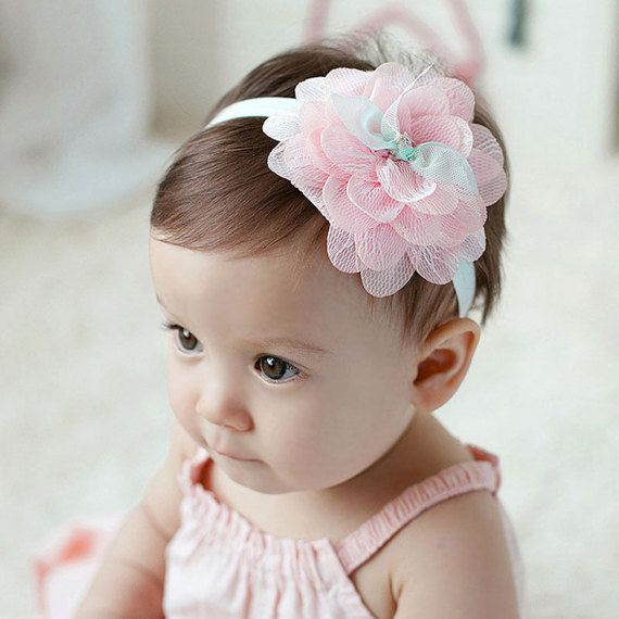 Toddler Baby Flower Lace Headband Hairband Hair Bow Headwear UK SELLER