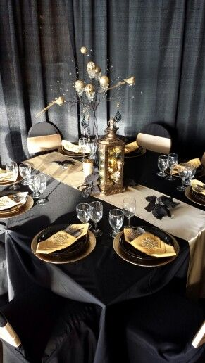 Black and gold christmas holiday black gold theme Christmas party table settings