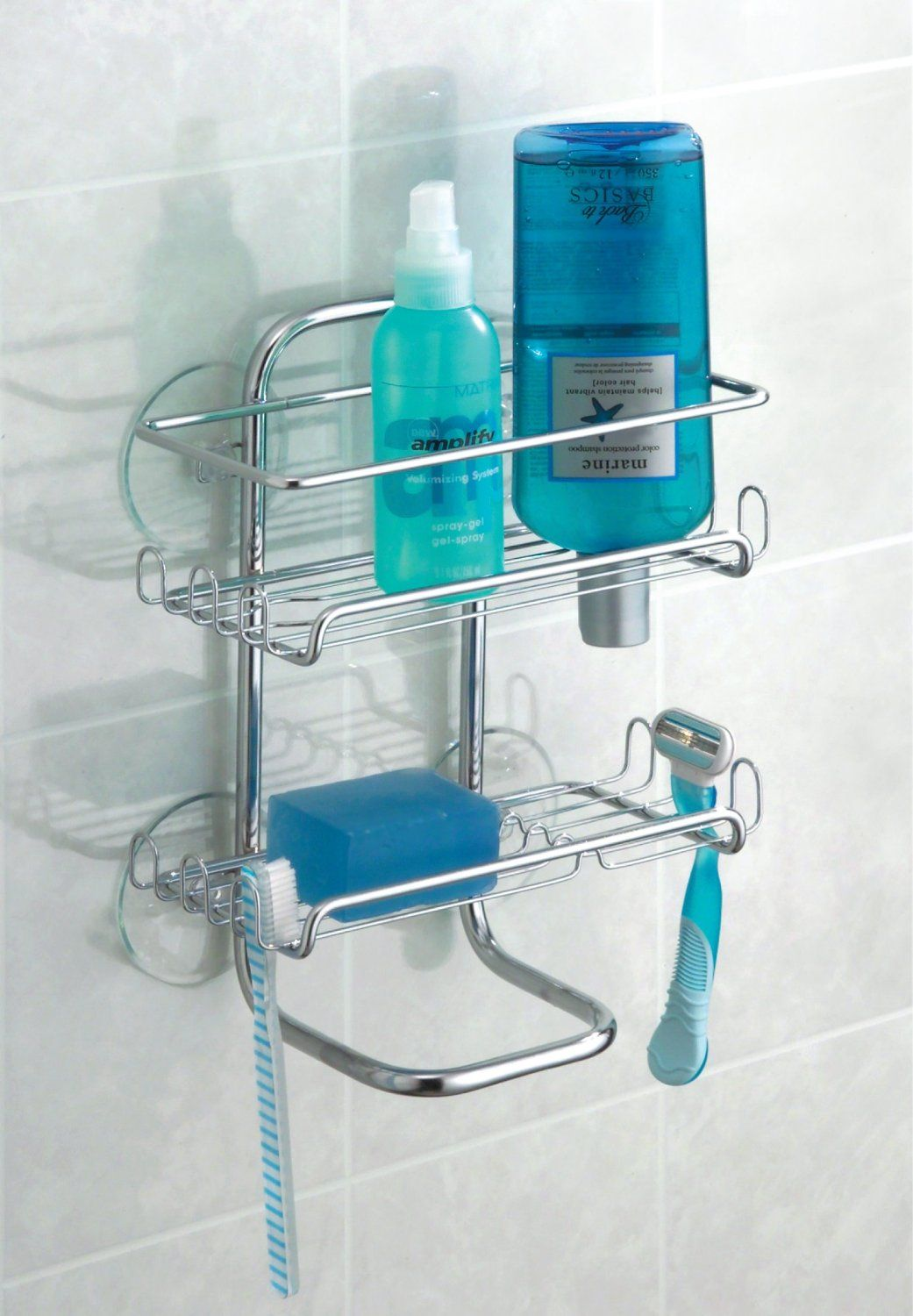 Amazon.com: InterDesign Classico Suction Shower Shelves, Chrome ...