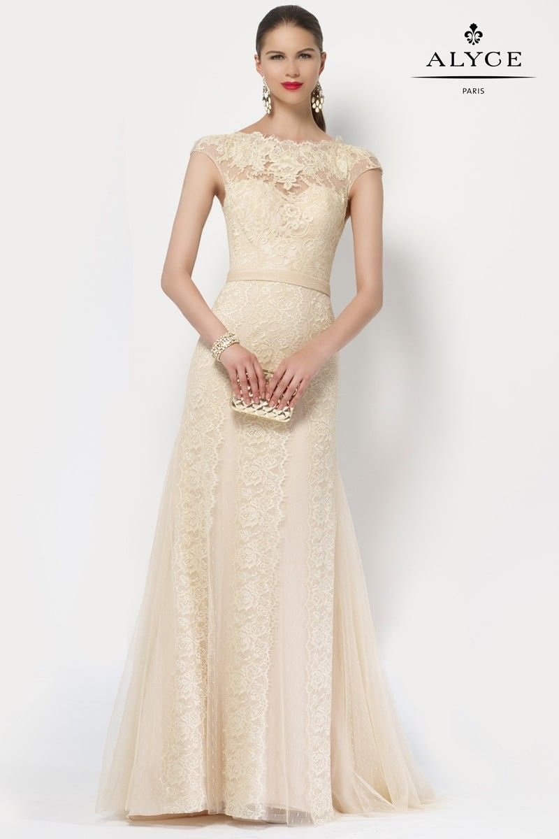 c2e5f570ecd5 Alyce Paris Mother of the Bride | Dress Style 27155 | Alyce Paris Mother of  the Bride delicate tulle lace long dress with a capped short sleeve and a  button ...