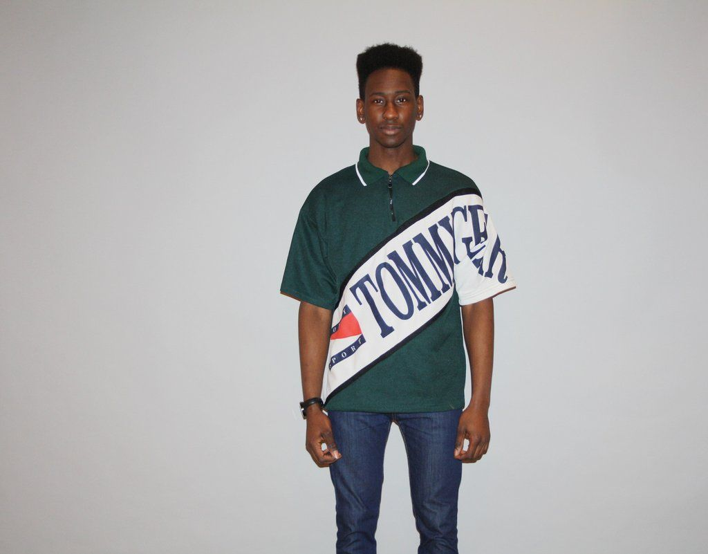 1990s Tommy Hilfiger Mens Vintage 90s Green Logo Hip Hop Oversized Polo Golf Shirt