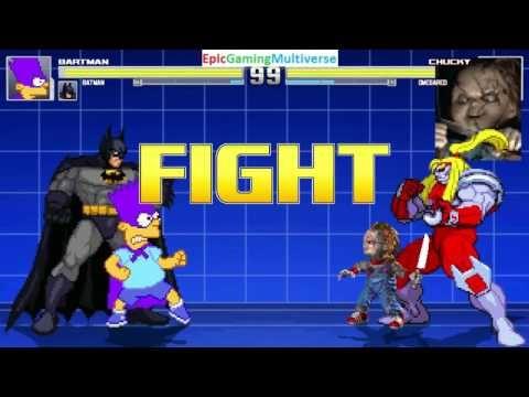 Batman And Bartman VS Chucky The Killer Doll Omega Red In A MUGEN Match
