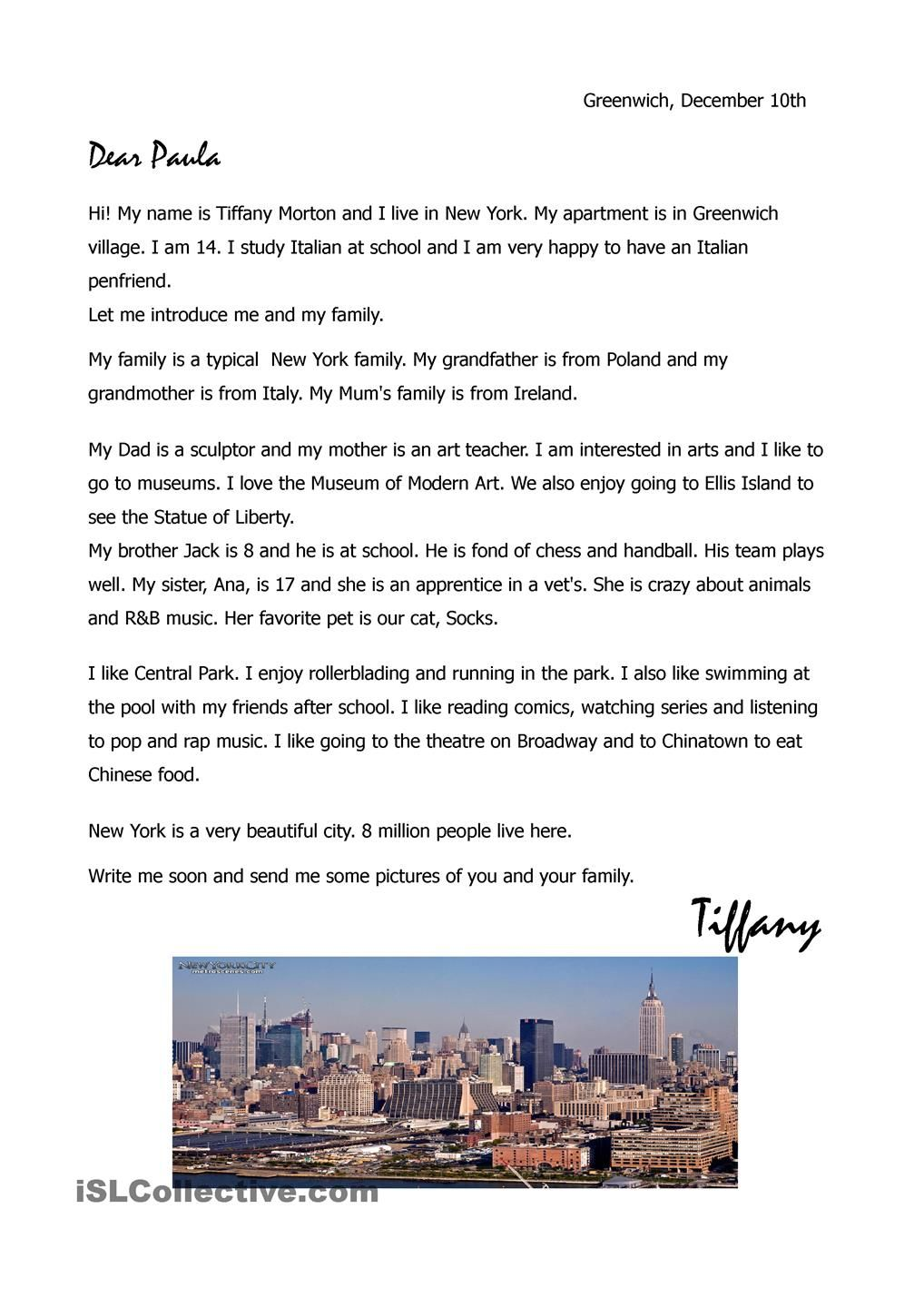 I live in New York | FREE ESL worksheets | activities 3 | Pinterest