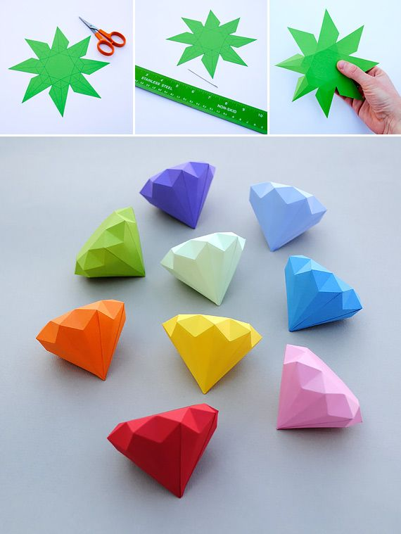 How to make 3d paper diamonds diy crafts handimania for How to do 3d paper art