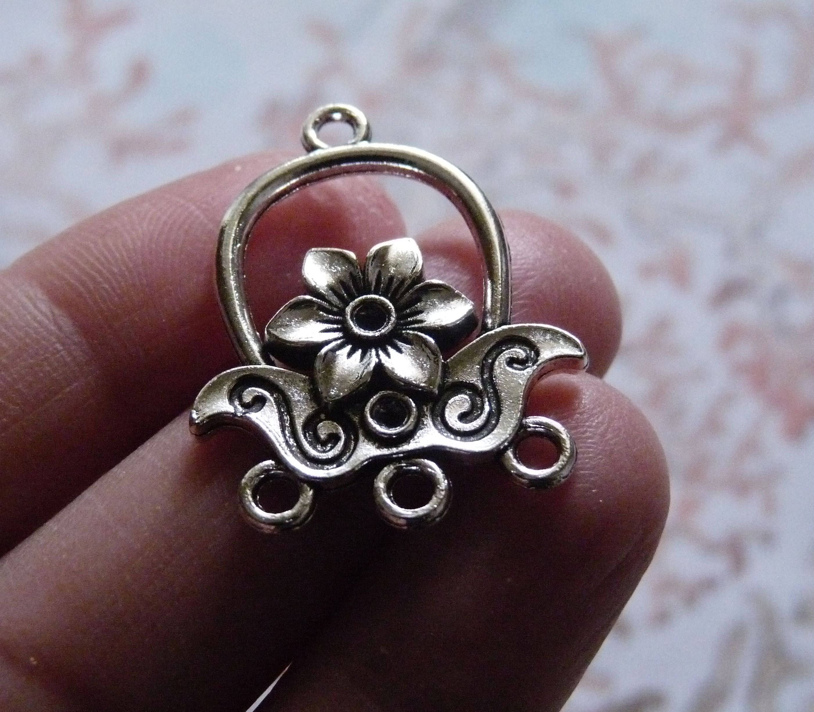 3 hole earring connectors antique silver tone flower chandelier 3 hole earring connectors antique silver tone flower chandelier connectors earring findings earring arubaitofo Image collections