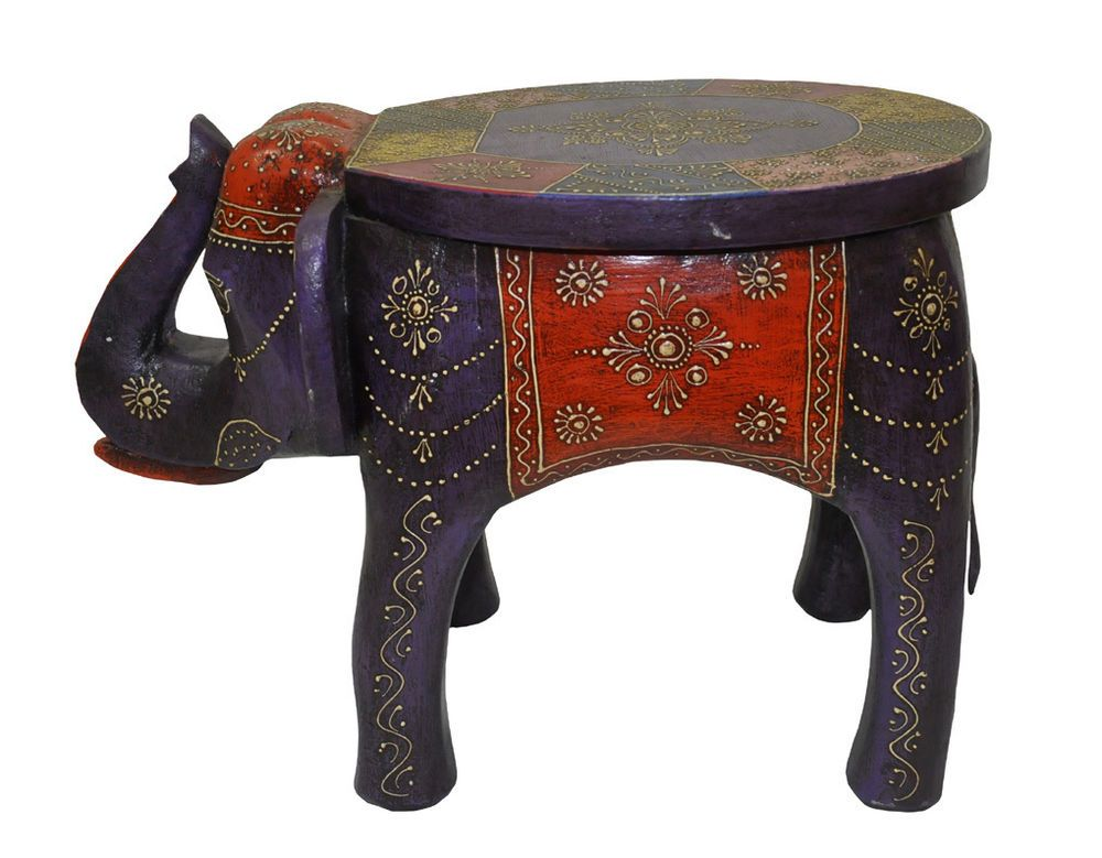 Indian Wooden Elephant Stool Meenakari Painted Antique Elephant Side