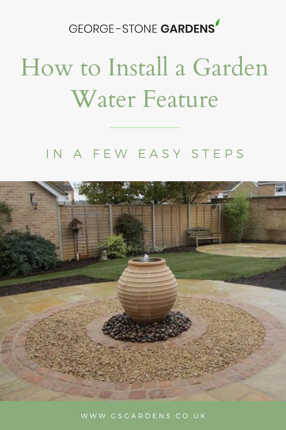 There's nothing quite like the soothing sound of a water feature in  Follow the simple steps in our blog to install a water feature in your garden.  #waterfeatures #gardenlandscaping