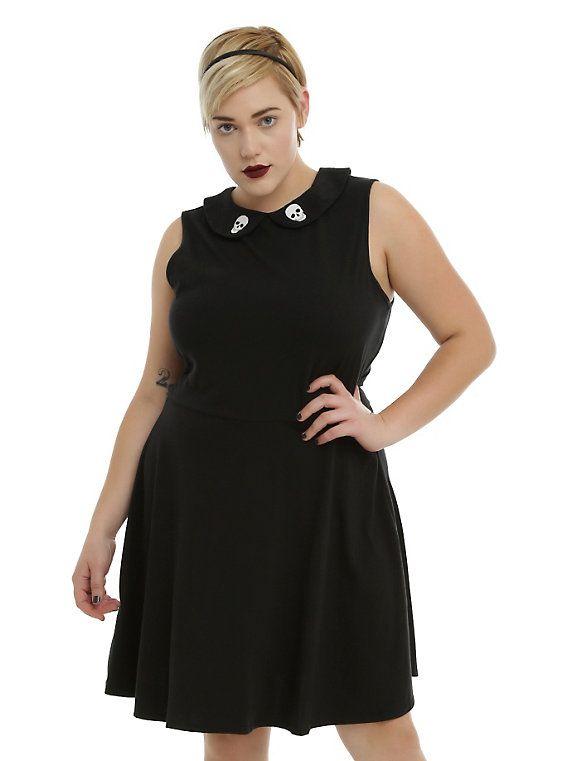 Black Skull Print Collar Skater Dress Plus Size Rockabillypin Up