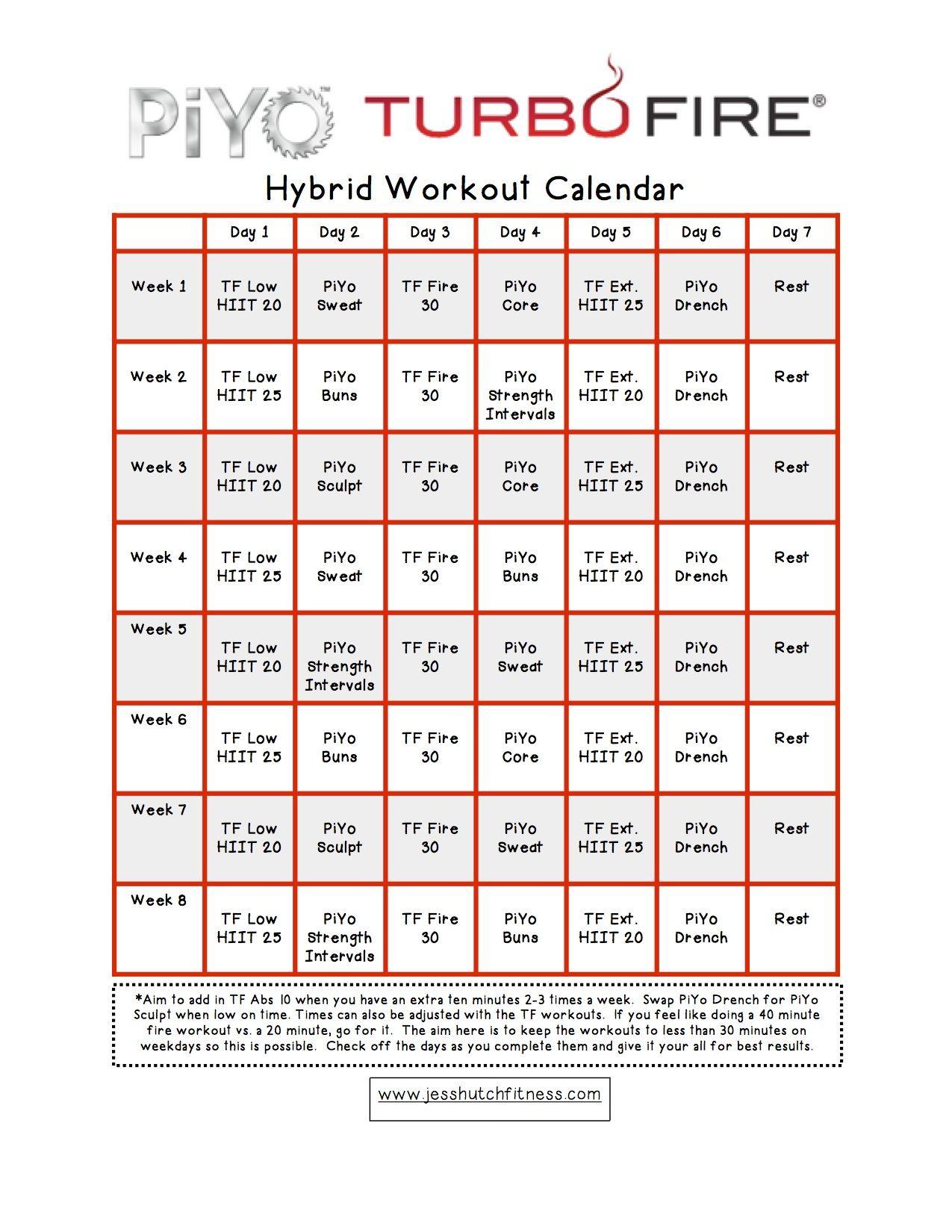 piyo/turbofire hybrid calendar | craig's fitness | fitness, workout