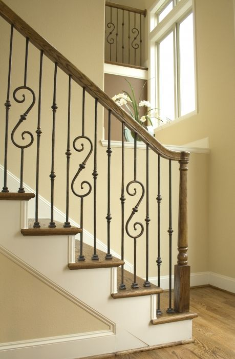 Metal Banisters And Handrails Round Iron Stair Railing