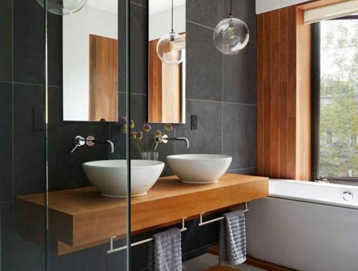 vasque-salle-de-bain-bois-gris-deux-miroir-fenetre Bathrooms 2