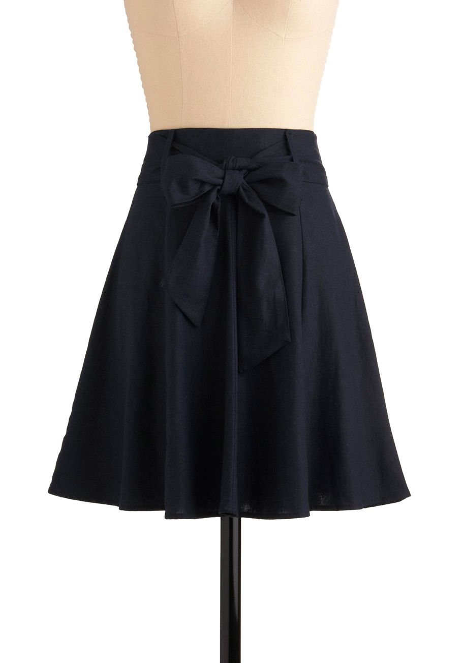 $35 - Le Centre Pompidou Skirt - Blue, Solid, Bows, Casual, Spring, Summer, Fall, Mid-length