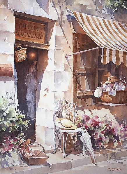 Christian Graniou Watercolor Jd Architecture Aquarelle Ville
