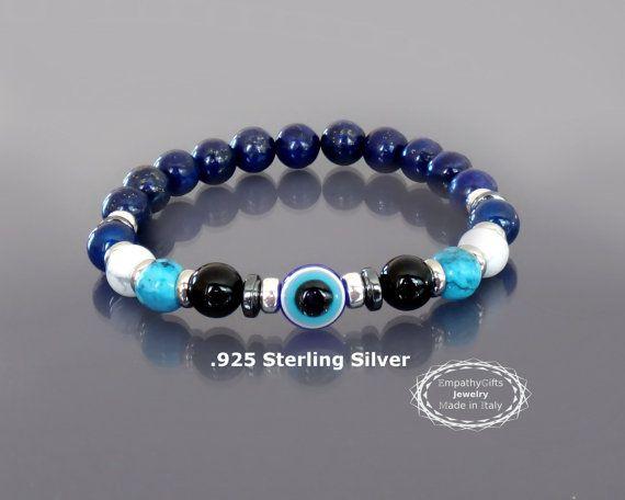 Mens evil eye bracelet Blue lapis bracelet Men by EmpathyGifts