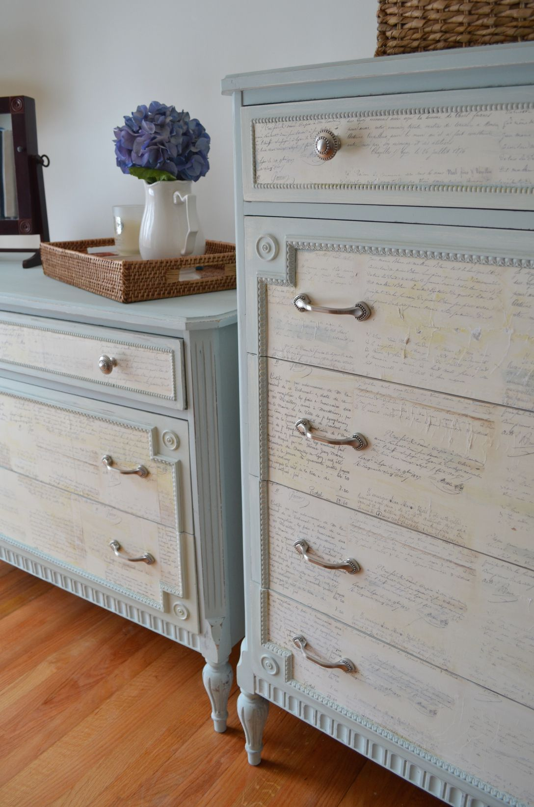 Duck Egg Blue And Old White Chalk Paint Help Enhance A Decoupaged Drawer Set Lindsey