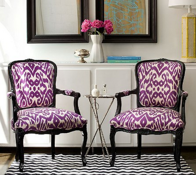 French Chairs Purple And A Bit Of Ikat What S Not To Love