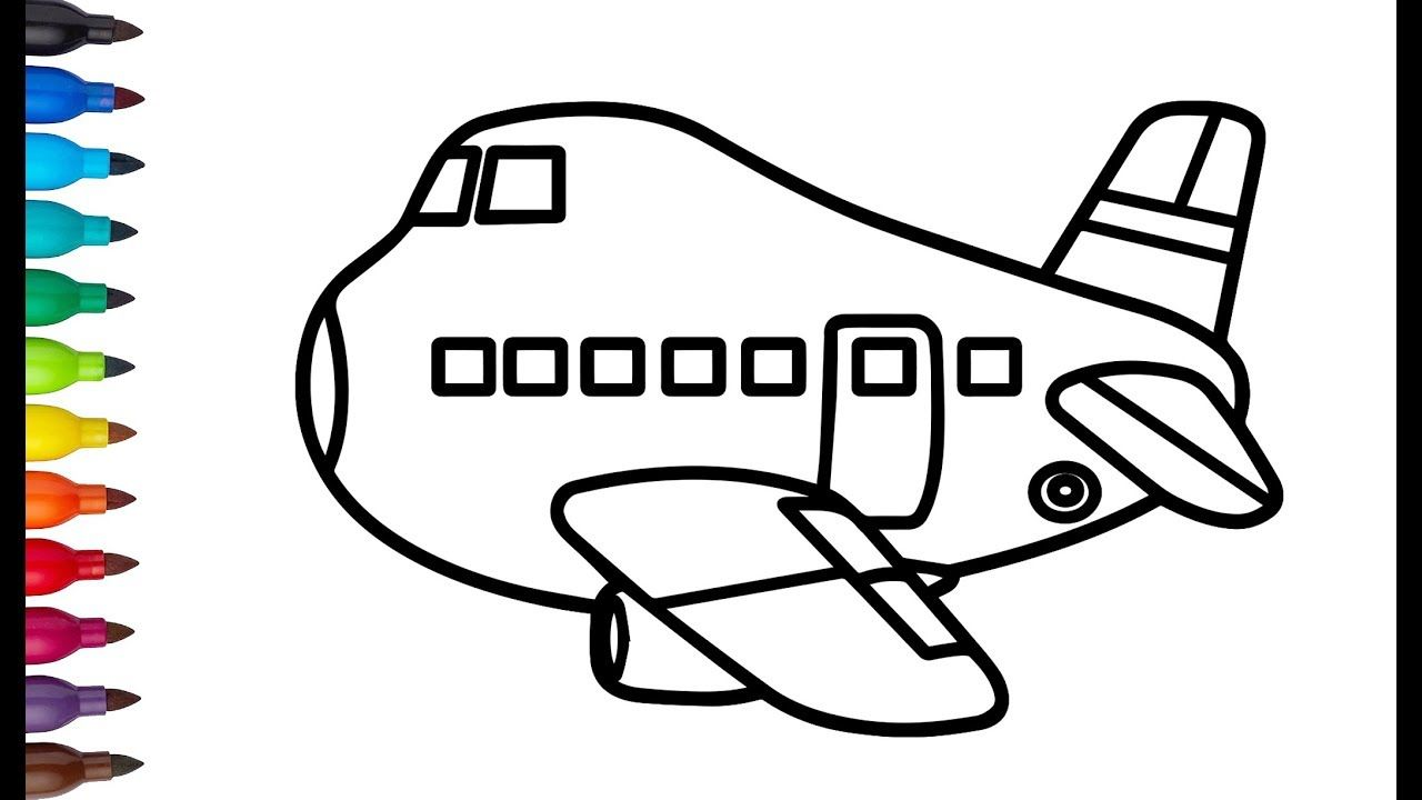 - Glitter Toy Airplane Coloring And Drawing Learn Color For Kids