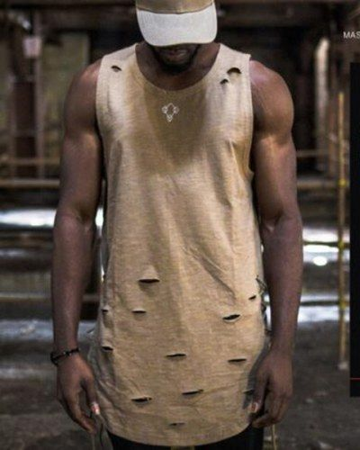 d83b22165b330 Khaki sleeveless t shirt with holes side lace up hip hop cut out tank tops  for men