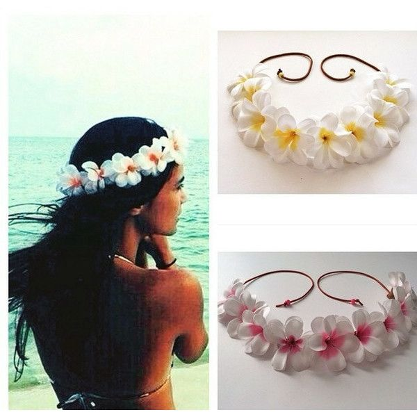 White Hawaiian Plumeria Flower Crown Floral Halo Boho Bohemian Beach 21 Liked On Poly Bridal Shower Flowers Flower Crown Wedding Bohemian Beach Wedding