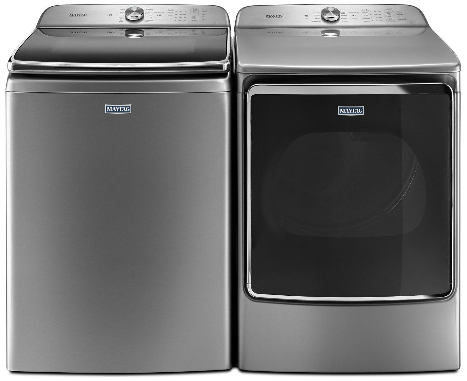 Maytag 7 1 Cu Ft Top Load Washer And 7 0 Cu Ft Dryer Grey The Brick Top Load Washing Machine Top Load Washer Maytag Washer And Dryer