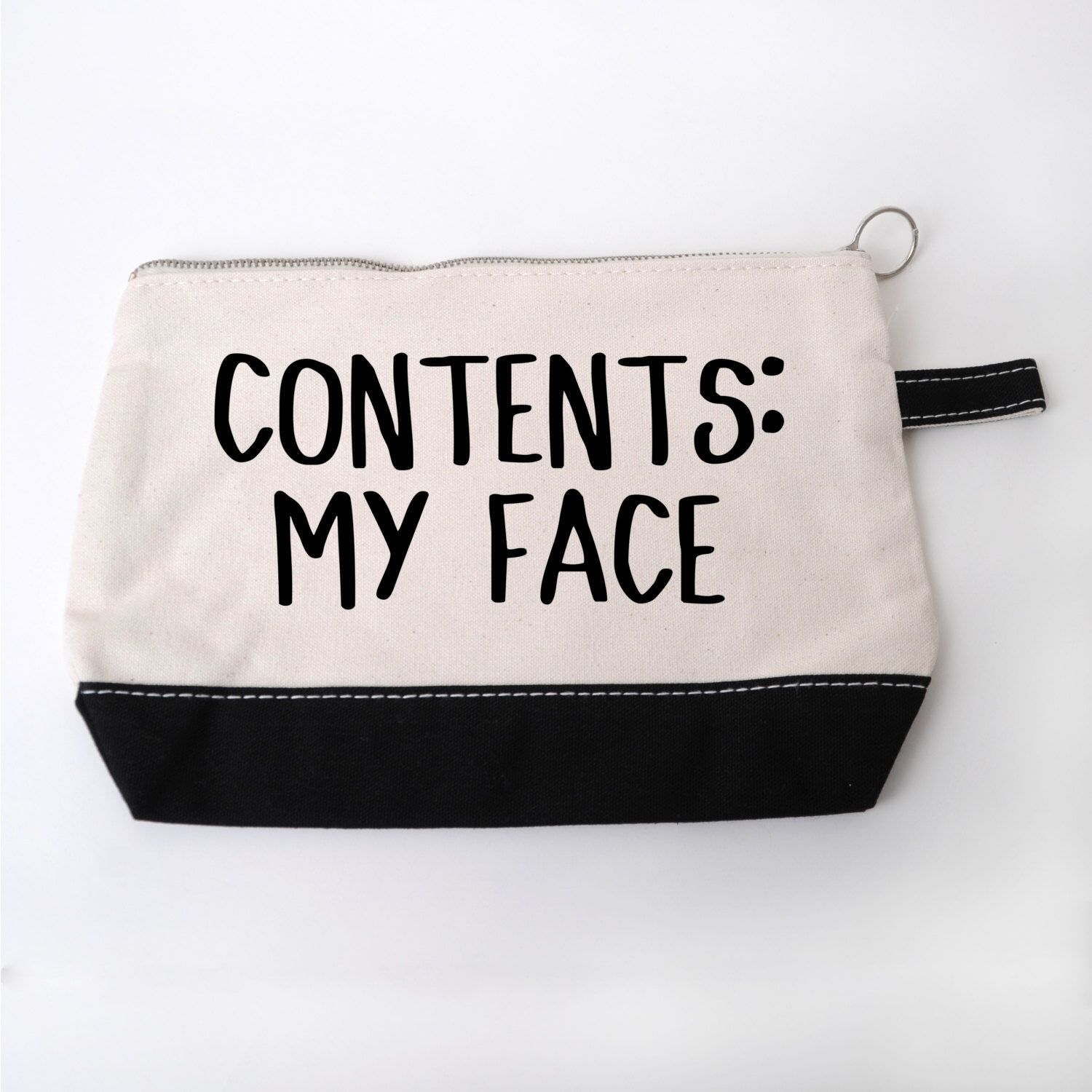 """Funny Cosmetic Make Up Bag """"Contents My Face"""" Diy"""