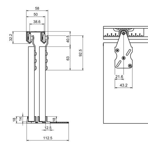 photo Système porte coulissante HORUS pour 2 portes de placard