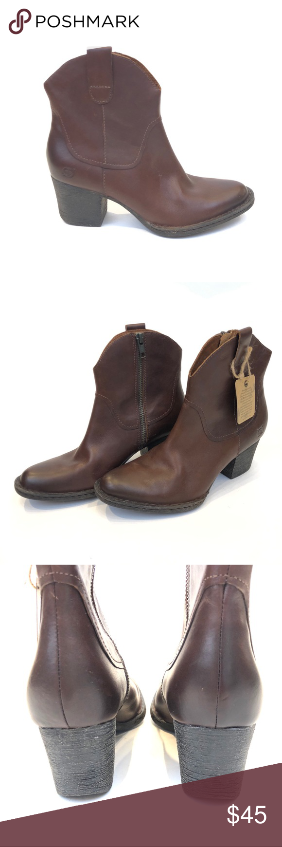 "33b2b53a63868 Born Ankle Booties in Brown, Sz 7. Leather upper, no box. Approx. 2.5"" heel.  Rugged style, ready for fall! Born Shoes Ankle Boots & Booties"