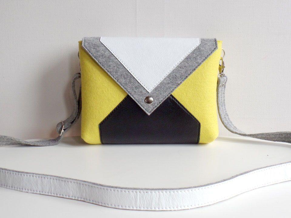 e51e8f15d2e3 Сумочка через плечо серо-желтая из фетра и кожи | Style in you ...