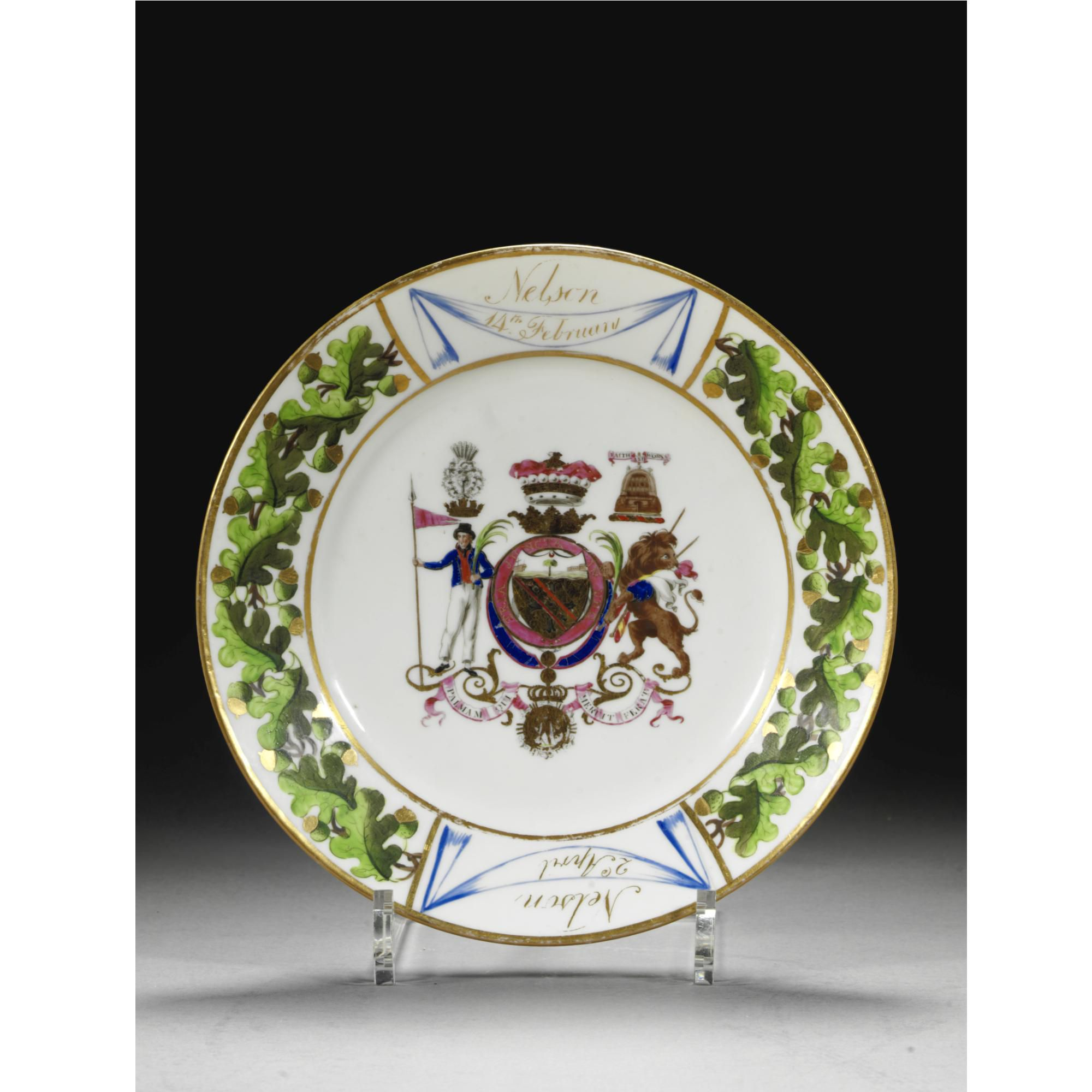 A rare Coalport porcelain plate from the Nelson service