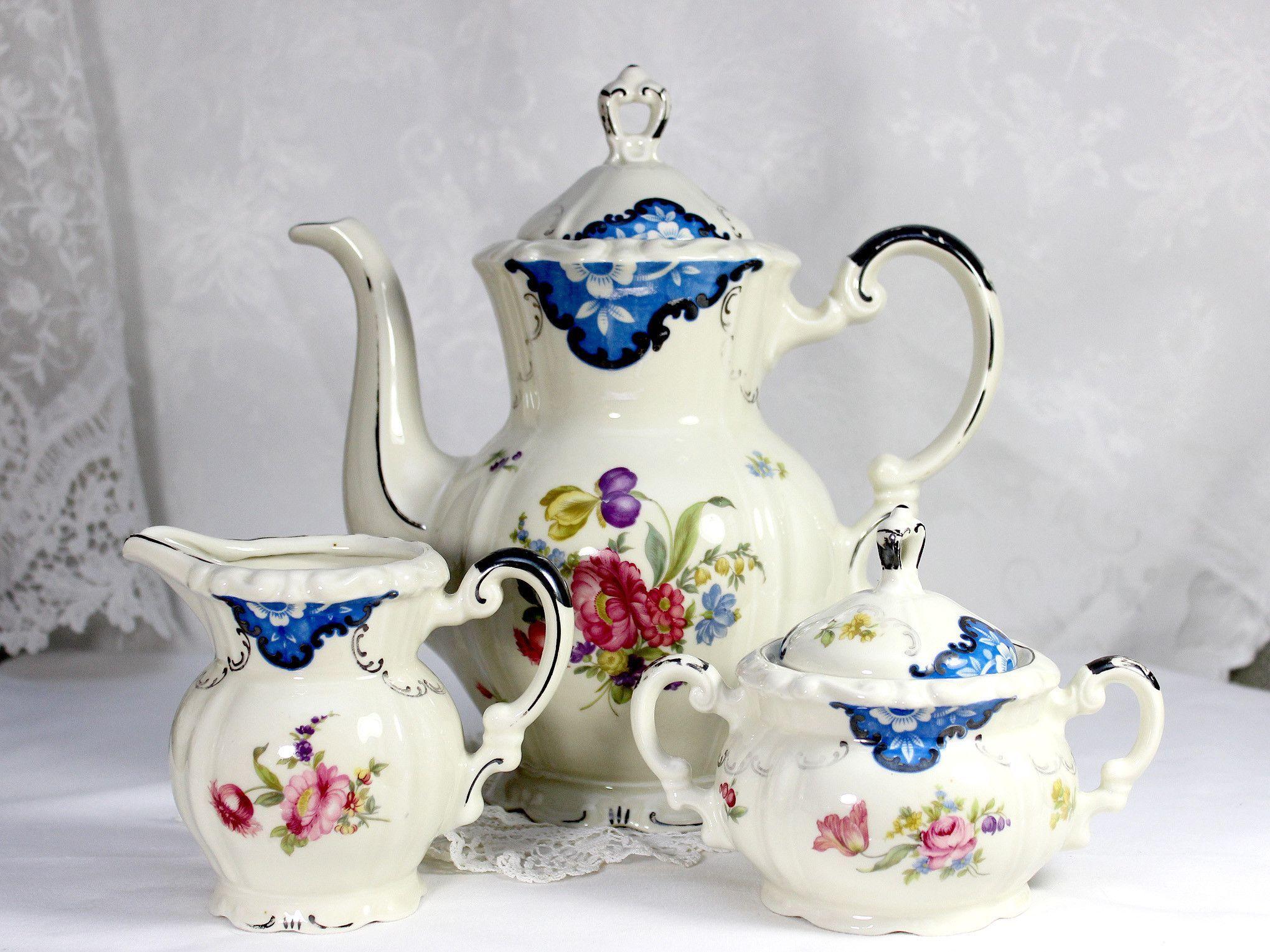 Mitterteich Bavaria Coffee Set, Coffee Pot, Creamer, Sugar Bowl And