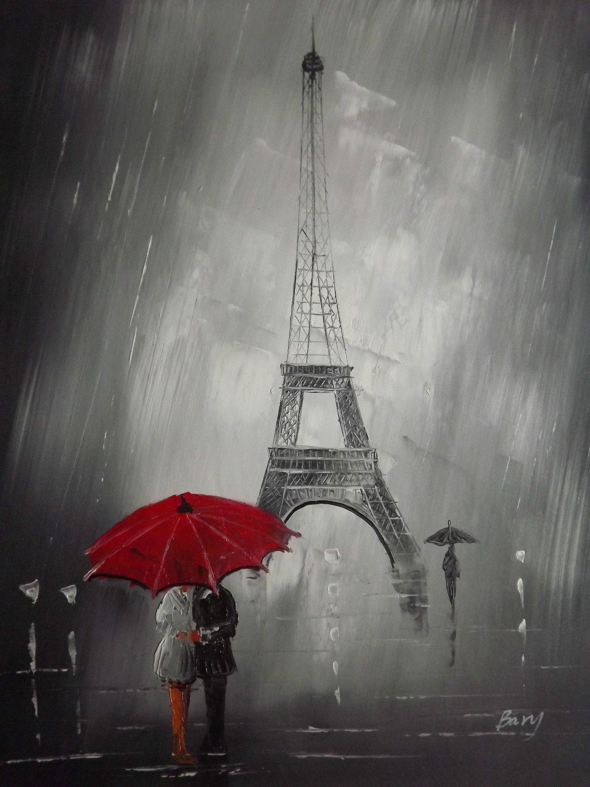 Black White Red Paris Cityscape Large Oil Painting Canvas Art