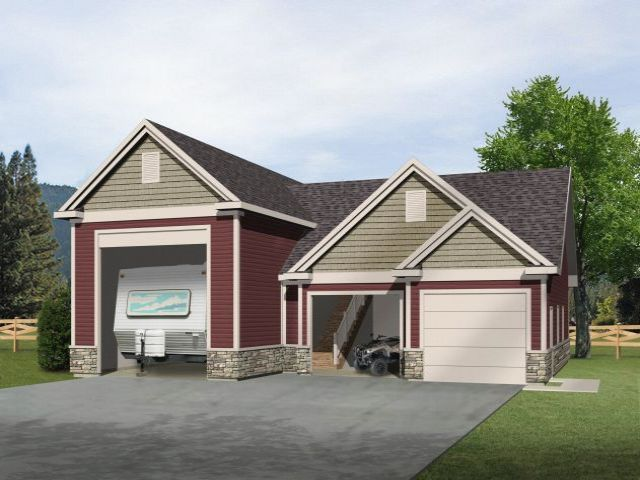 Rv garage with two car garage and unfinished loft above for Garage plans with storage