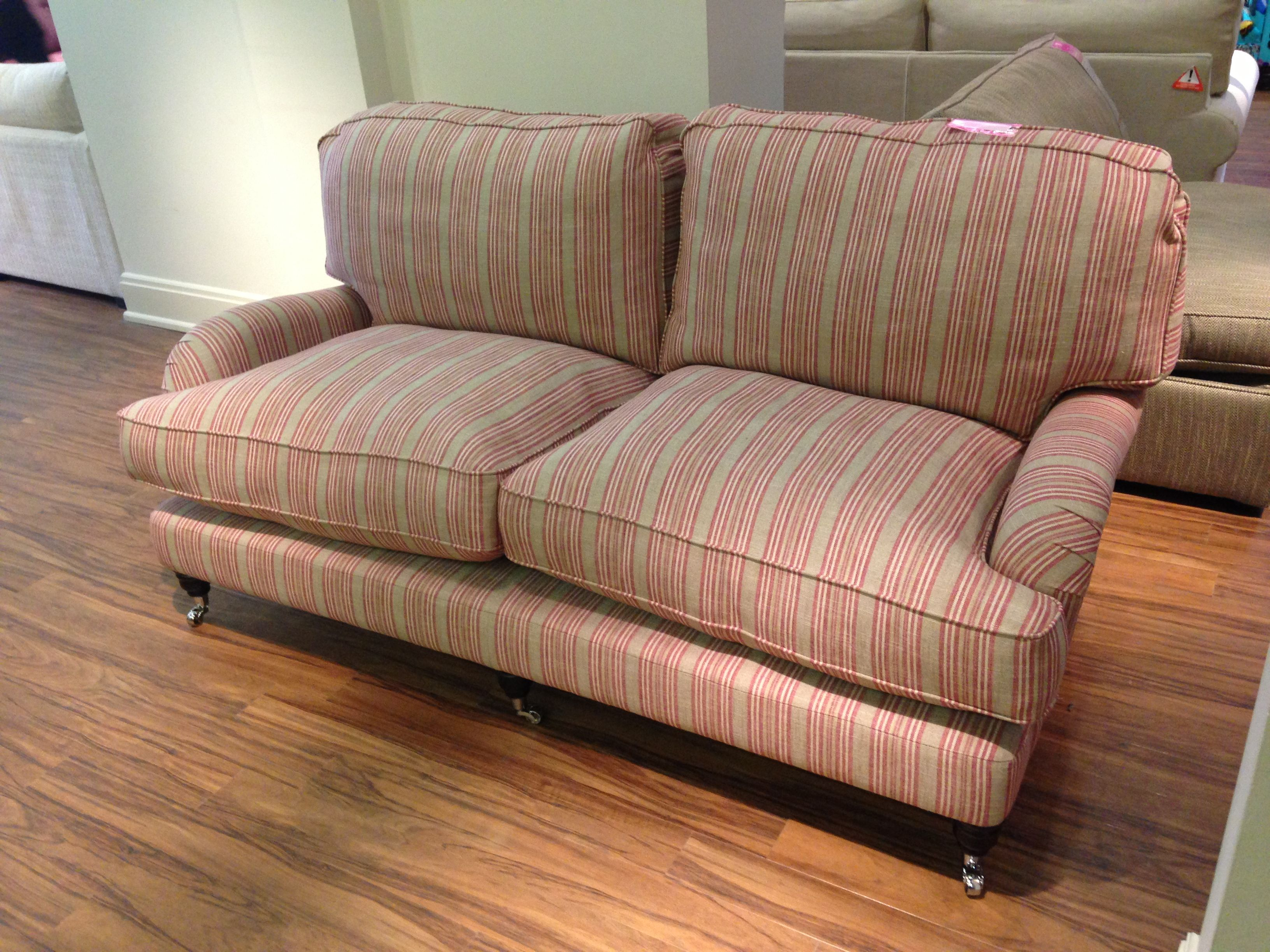 Miss Clementine 3 seater sofa in Ian Mankin Jura Stripe