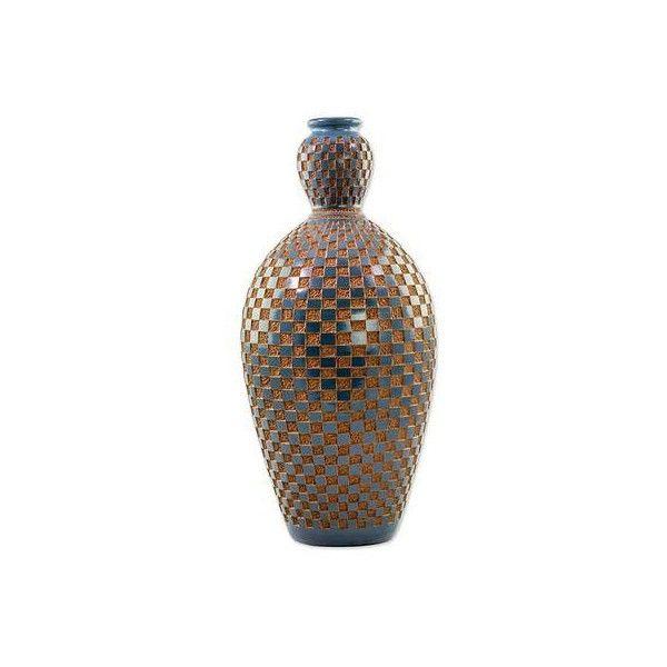 NOVICA Low Relief Blue Tile Effect on Decorative Terracotta Vase (550 CNY) ❤ liked on Polyvore featuring home, home decor, vases, brown, modern blue vase, square vase, handmade vase, modern home accessories and modern vase
