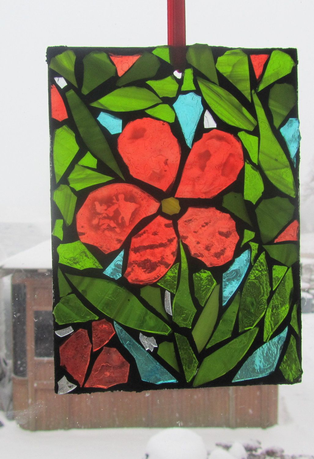 Wishful thinking RED Stained Glass SunCatcher or wall