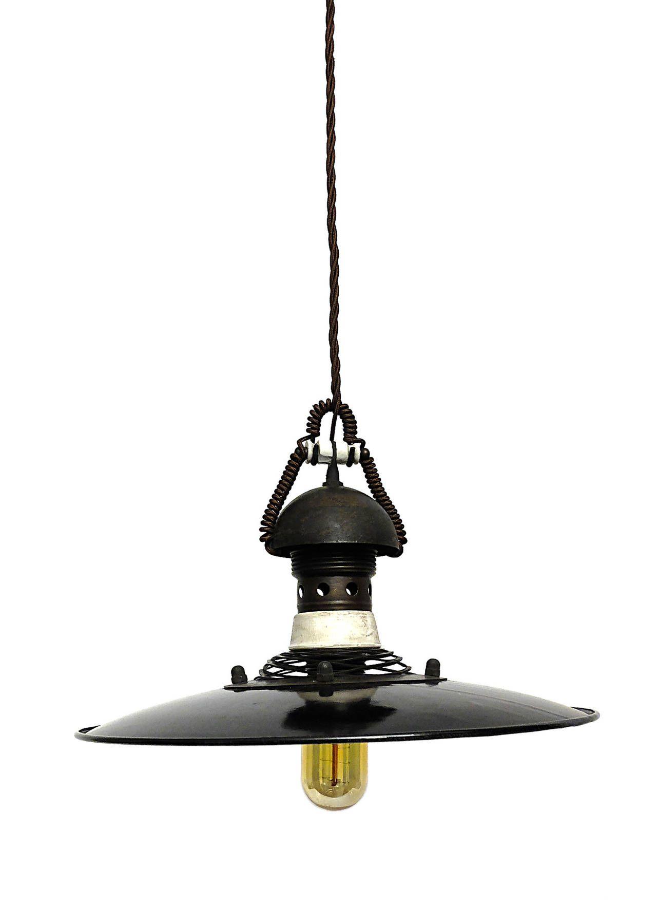 Set of six hanging enameled metal swinging lamps pendant lights