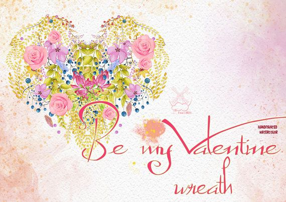 Be My Valentine Bouquets, Watercolor Clipart, Valentine's