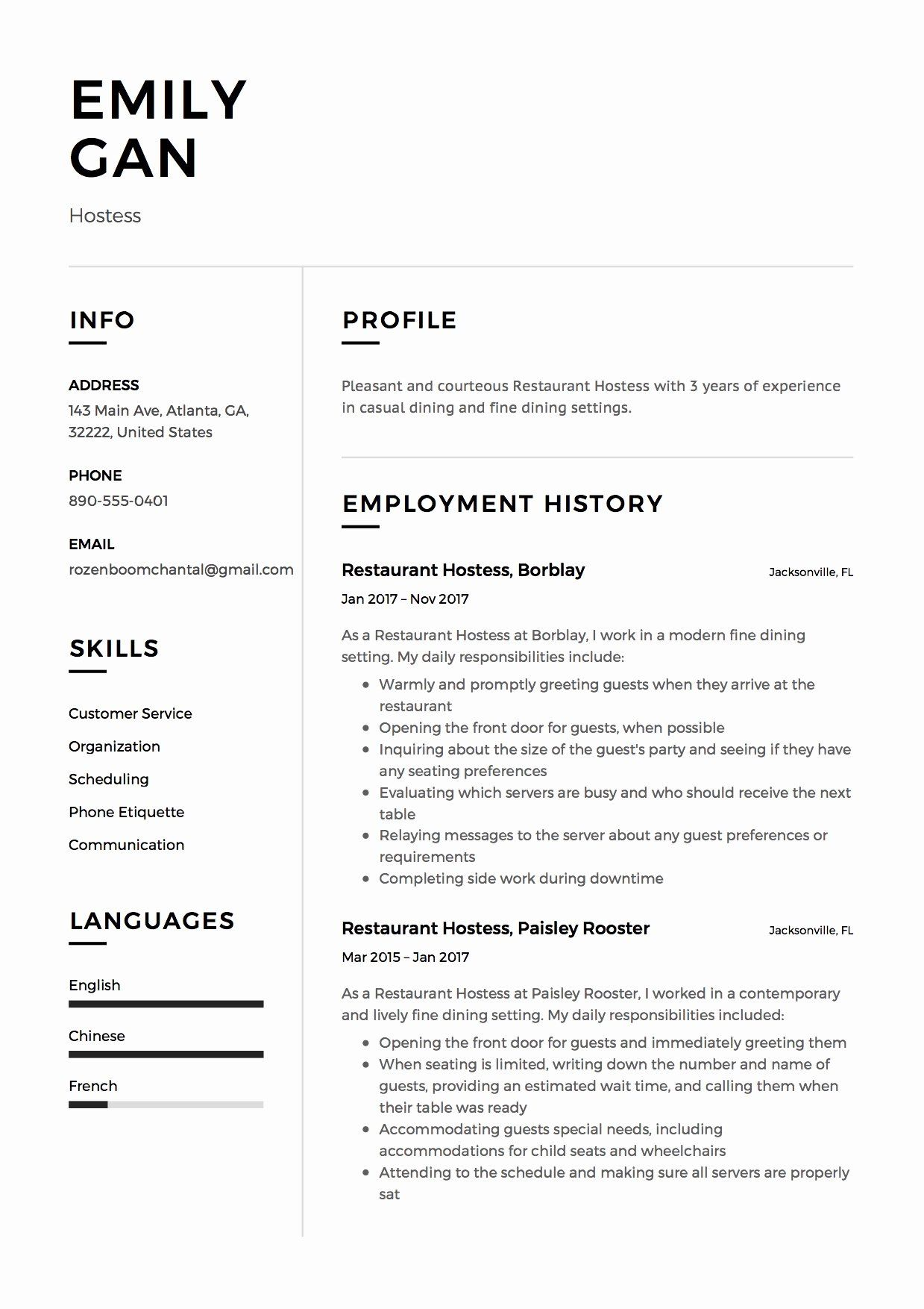 12 Hostess Job Description Resume in 2020 Server resume
