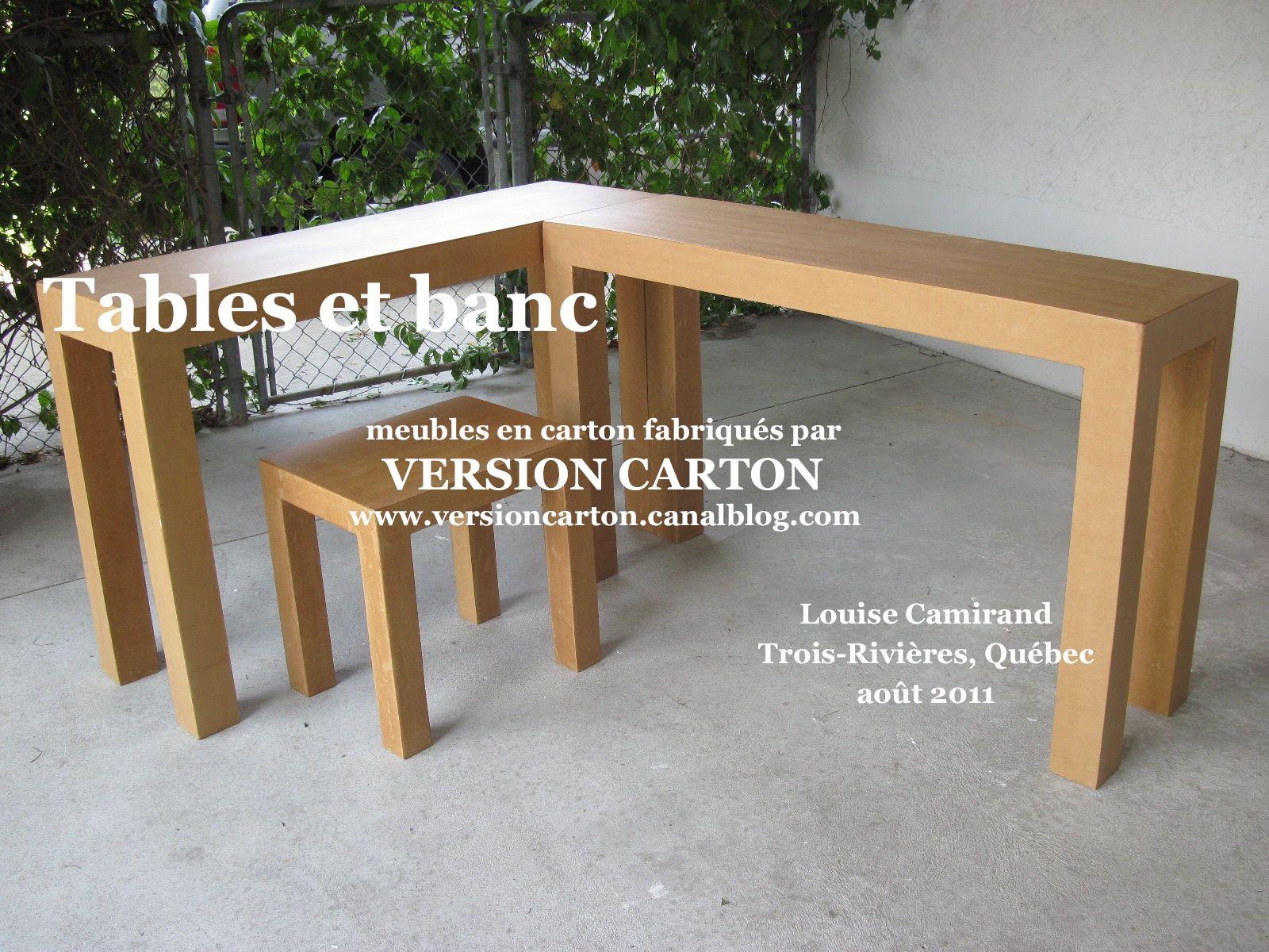 Tables et bancs bureau de travail consoles version carton
