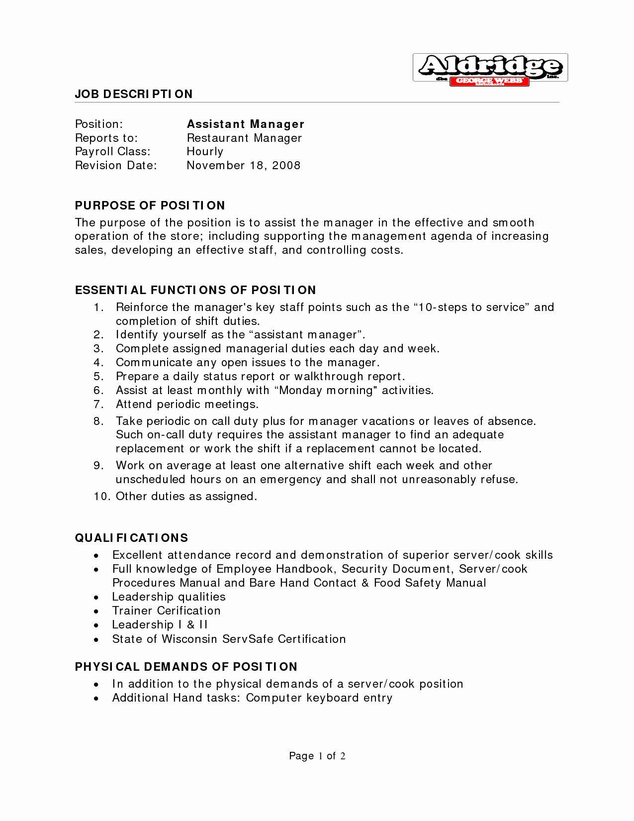 Assistant Manager Resume Description Beautiful Best S Of
