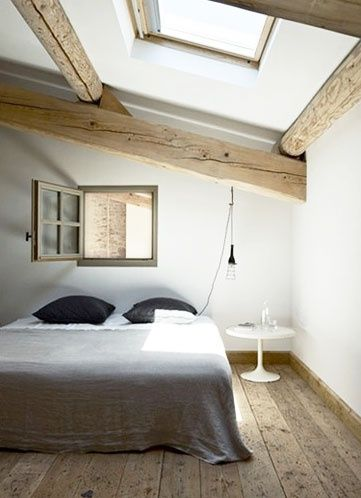 c o z y wood rafters skylight in master bedroom Attic Roof Space