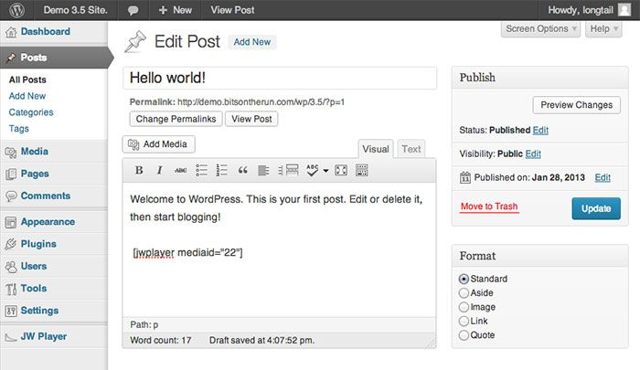 The WordPress Post Editor, containing a JW Player Short Code