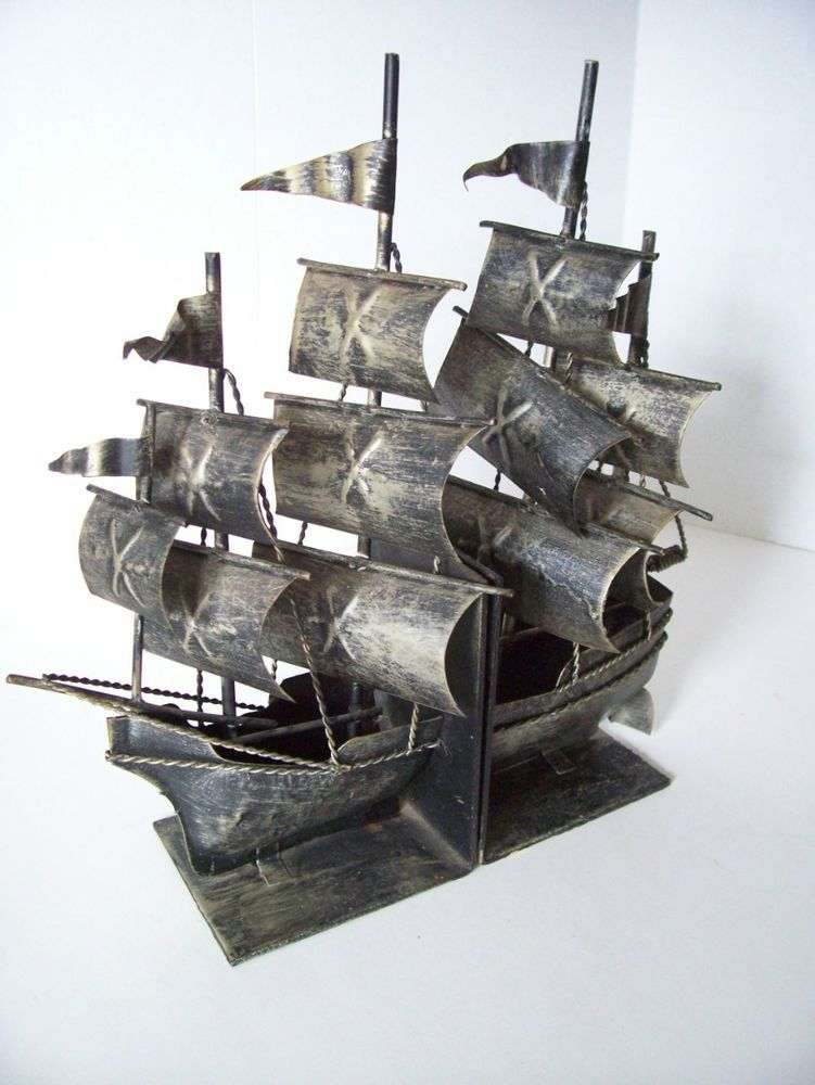 Vintage TALL SHIP BOOK ENDS Metal Pirate Ship Bookends 12 in Handmade