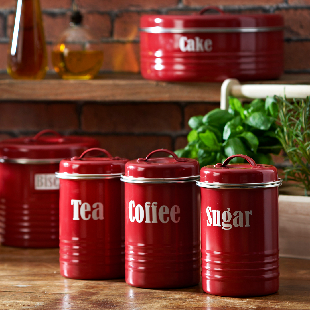 Depiction Of Kitchen Canister Sets In Red Color Tea Coffee Sugar Canisters