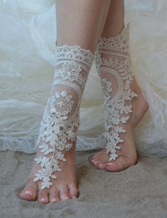 4e311defcf1fc free ship Champagne Unique Lace sandals Beach wedding barefoot sandals