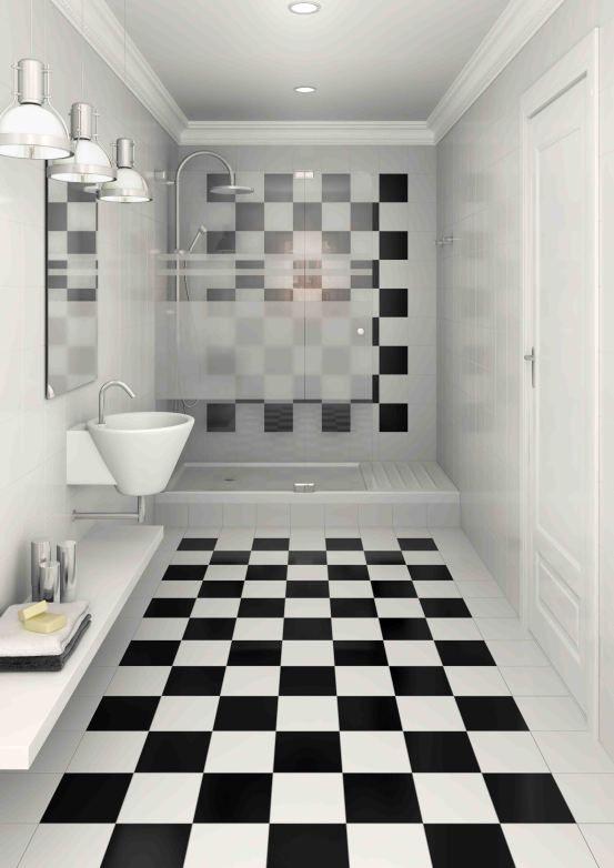 Baño con fuerte presencia del damero, en el piso y en la pared. en ...
