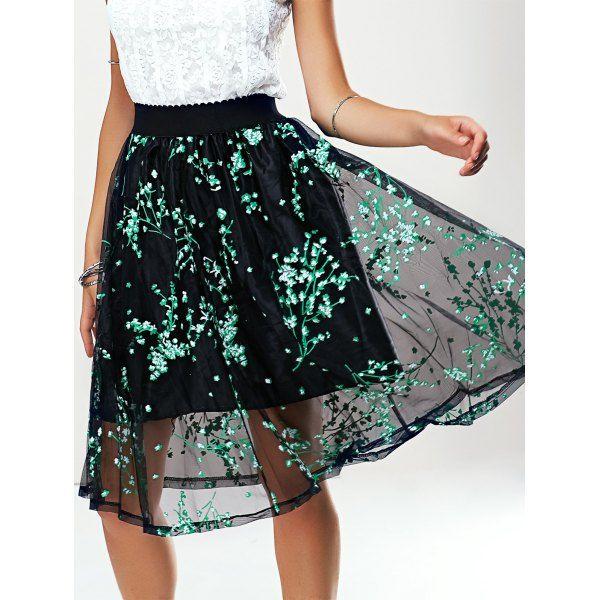Stylish Women's A-Line Print Mesh Skirt #women, #men, #hats, #watches, #belts, #fashion